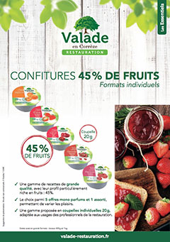 Confitures 45% de Fruit - Formats Individuels - Valade Restauration